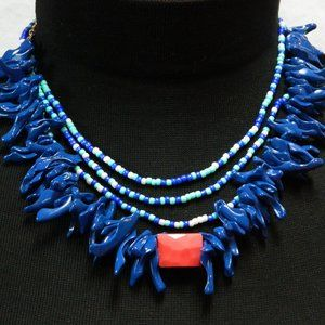 Handmade Nautical/Coral Look Statement Necklace
